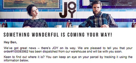 JOY Post-Purchase Email