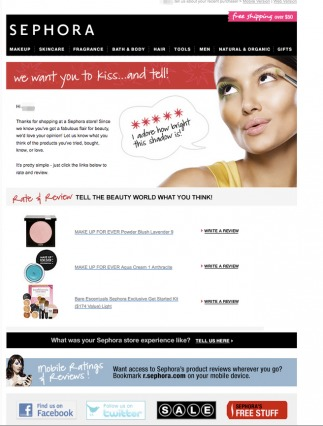 Sephora Post-Purchase Email