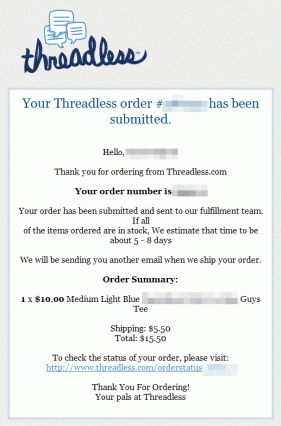 Threadless Post-Purchase Email