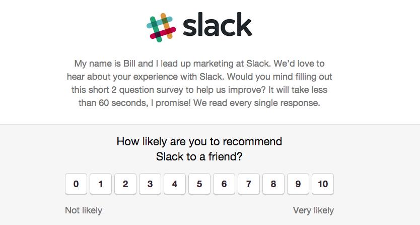 example of slack asking for net promoter score.