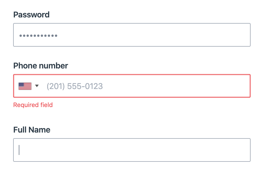 Example of unclear reason to enter a phone number.