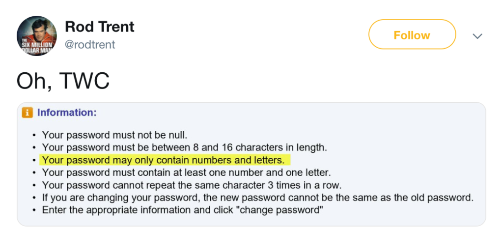 A tweet with bad password requirements.