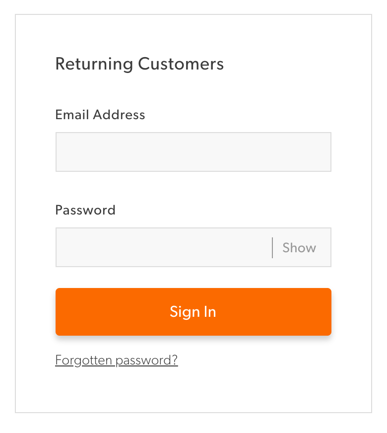 An example from New Look to show your password.
