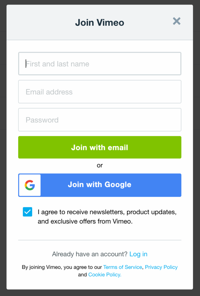 An example of Vimeo's signup form without a field to confirm the password.