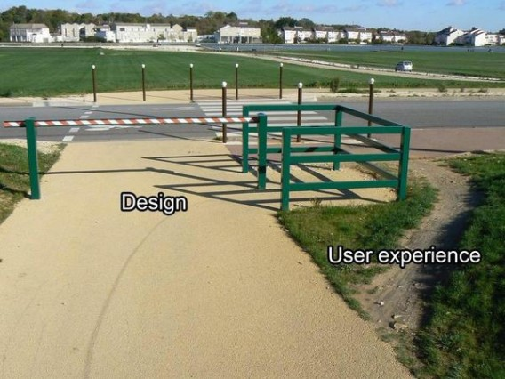 image showing the gap between design and user experience.