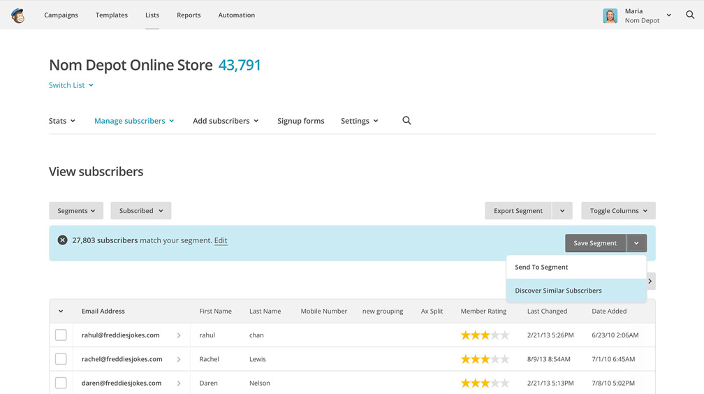 MailChimp Discover.