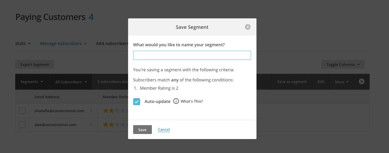 MailChimp Save Segment.