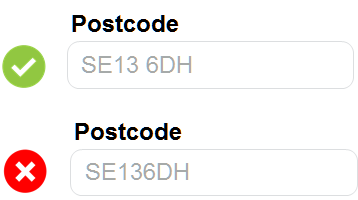 Postcode error example.