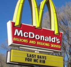 mcdonald's advertising the last day for the mcrib.