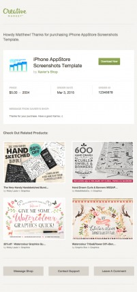 Creative Market Transactional Email