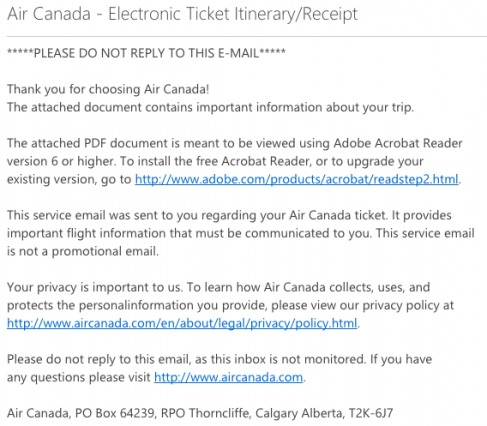 Air Canada Transactional Email