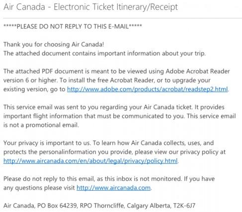 Air Canada Transactional Email