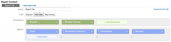 Conversion rate by browser and device report setup.