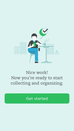 final screen of onboarding flow for evernote.
