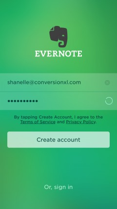 username and password creation on evernote.