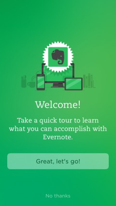 onboarding tour of evernote.