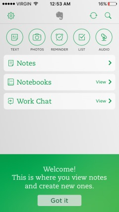 creation of first note in evernote.