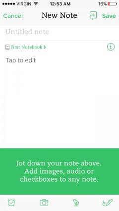 guided tour of evernote as part of the onboarding process.