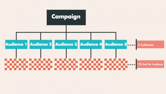 A diagram that splits a campaign into five audiences.