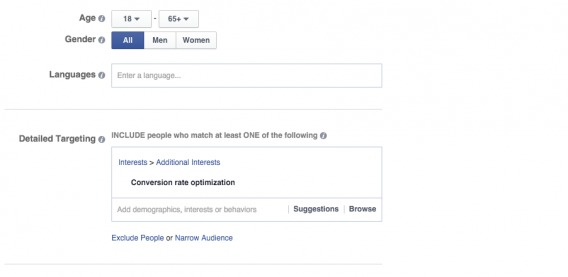 Age and gender selection in Facebook ads manager.