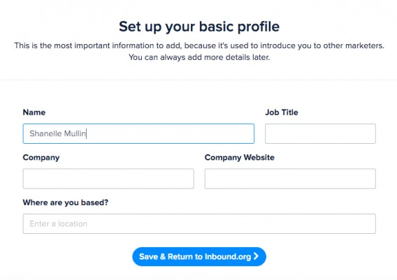basic profile page as part of the onboarding process.