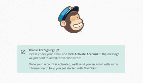 confirmation following mailchimp signup.