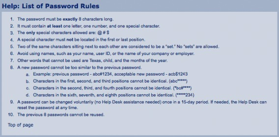list of password rules as part of an error message.