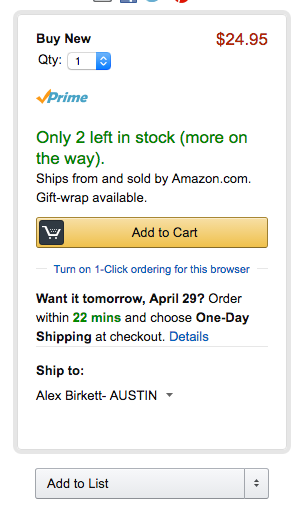 example of limited stock on Amazon.