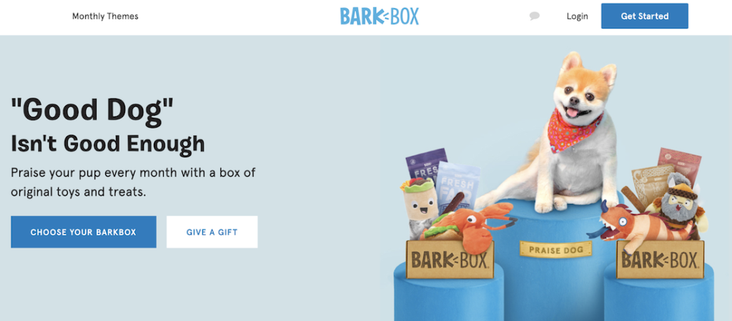 Example of a hero image from BarkBox.
