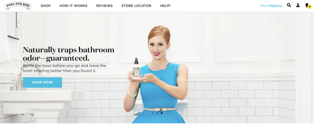 Example of a hero image from Poo-Pourri.