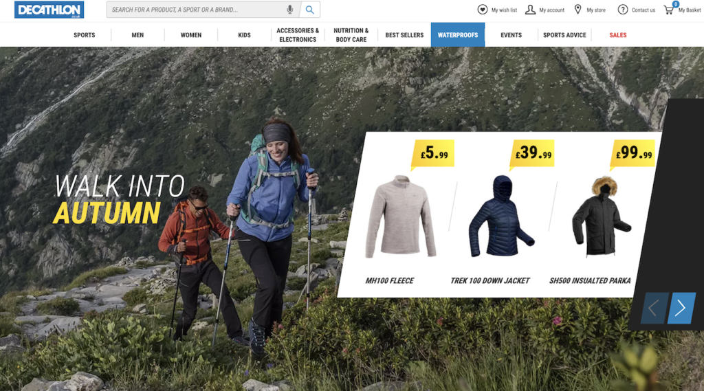 Example of a hero image from Decathlon.