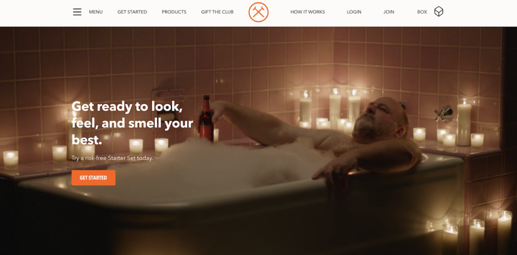Example of a hero image from Dollar Shave Club.