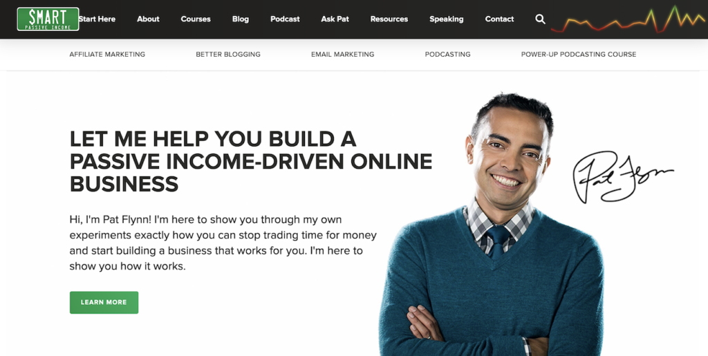 Example of a hero image from Smart Passive Income.