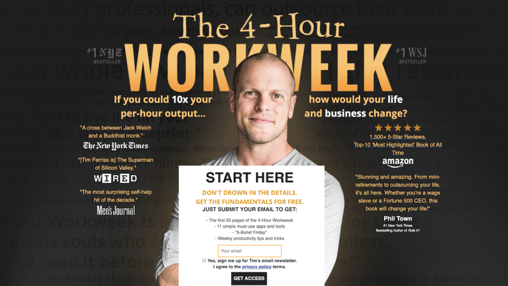 Example of a hero image from 4-Hour Workweek.