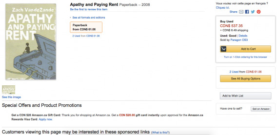 Apathy and Paying Rent (Amazon)