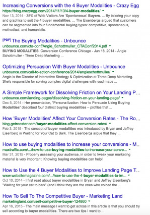 Buyer Modalities Search Results