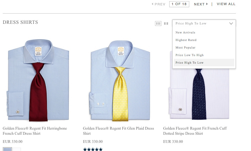 dress shirts with ties on a product page.