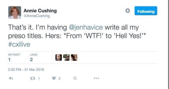 Annie's Tweet to Jen