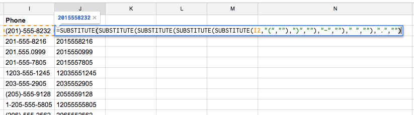 cleaning phone number data in a spreadsheet.