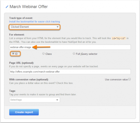 Setting up HubSpot event tracking (source)