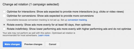 Rotação de anúncios do AdWords