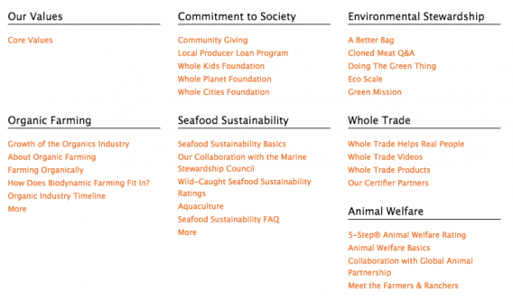 Whole Foods' mission and values