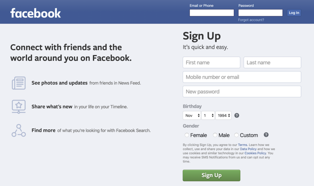 Facebook signup page with a single password field.