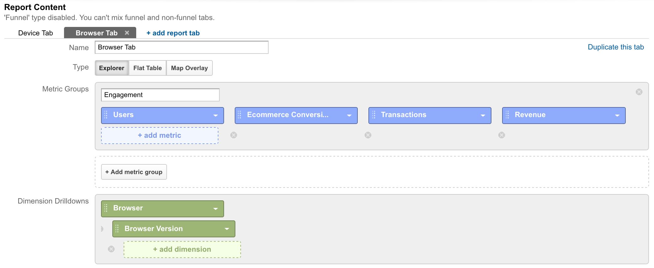 Browser Custom Report.