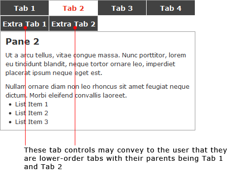 Example of double row tabbed navigation.