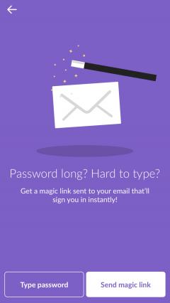 Slack login with no password.