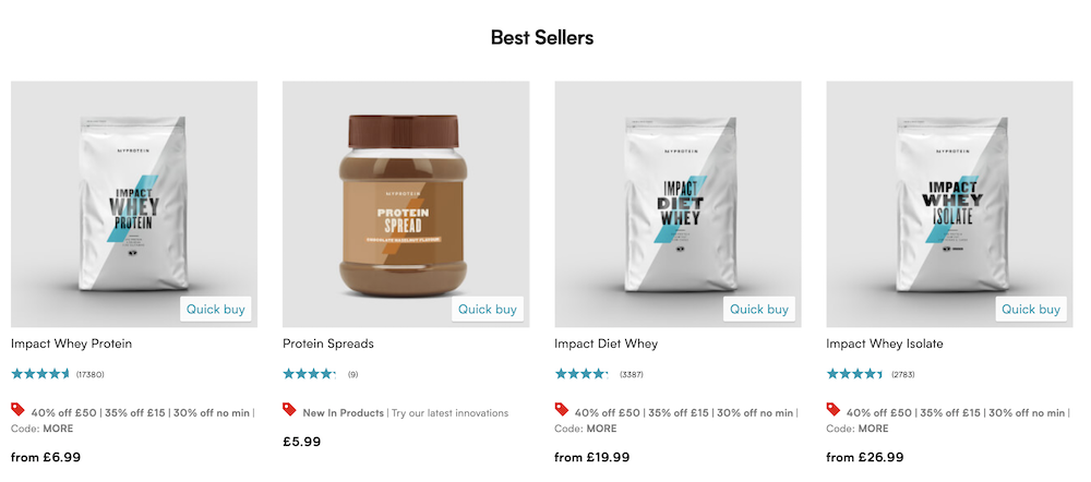 Example of best sellers product recommendation on myprotein.com.
