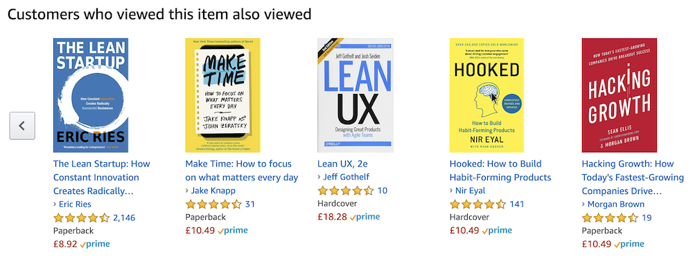 Example of 'Customers also viewed' recommendations on product page on Amazon.