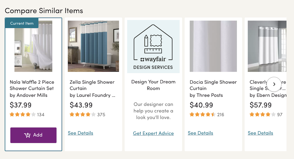 Example of recommended similar products on Wayfair.