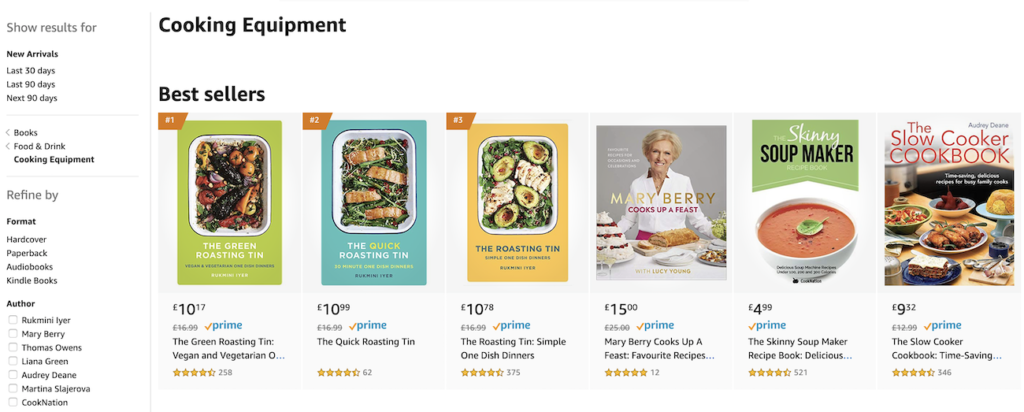 Example of category best sellers on Amazon.